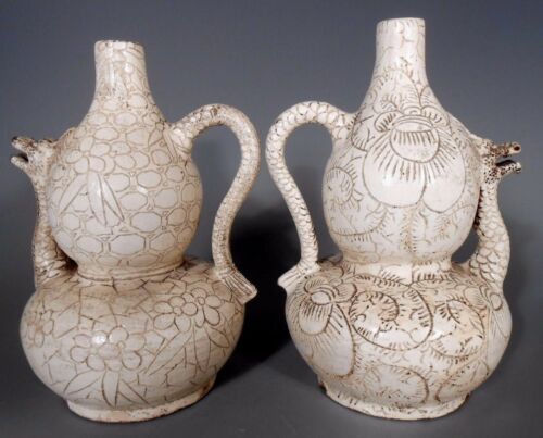 Pair China Chinese Pottery Dragon Shaped Ewers w/ Incised Lotus Decor ca. 20th c