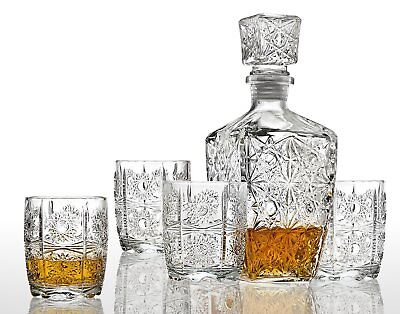 (Set of 5 Scotch Whiskey Decanter + Old Fashioned Glasses Home Bar Party Glass)