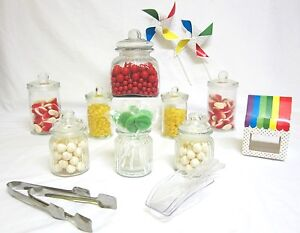 8-SET-STARTER-Candy-Lolly-Buffet-Apothecary-Glass-Jars-Wedding-Free-Tongs-Scoops