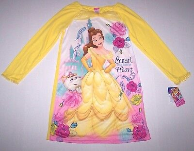 Nwt New Disney Princess Belle Beauty Beast Nightgown Pajamas Dress Silky Girl
