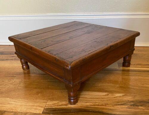 "Antique Vintage Primitive Rustic Bajot Table Wooden Footstool Ottoman - 15.5"""