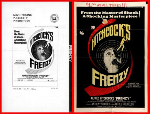 FRENZY pressbook AND POSTER Alfred Hitchcock; Jon Finch, Alec McCowen