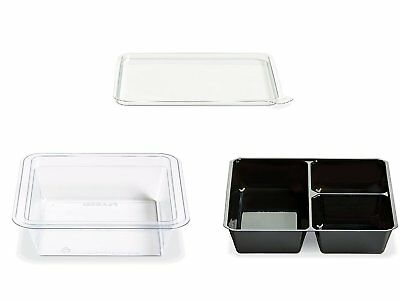Gocubes 12 Oz Pet Container With 3-comp Black Insert And Clear Lid 50 Sets