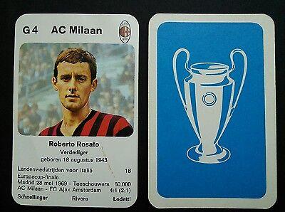 AC MILAN - ROBERTO ROSATO - 1970 Dutch Europa-cup Kwartet game card - scarce Ac Milan Game