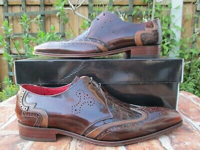 JEFFERY WEST SCARFACE CASTANO WING TIP BROGUES SHOES TWO TONE LEATHER SIZE 8