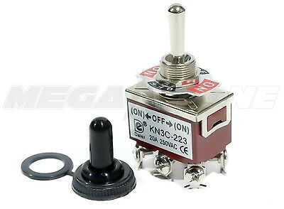 (Heavy Duty 20A/125V DPDT Momentary (ON)-OFF-(ON) Toggle Switch w/Waterproof Boot)