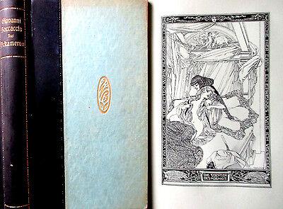 von BAYROS - BOCCACCIO >Dekameron< illustriert 1914 Halbleder, Schuber SUPER