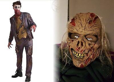 Zombie Kostüm m. Maske Untoter Dead Skelett Anzug Halloween Blutig Horror 48-52