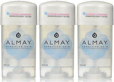 3 Pack Almay Anti-Perspirant - Deodorant Fragrance Free Clear Gel 2.25 oz