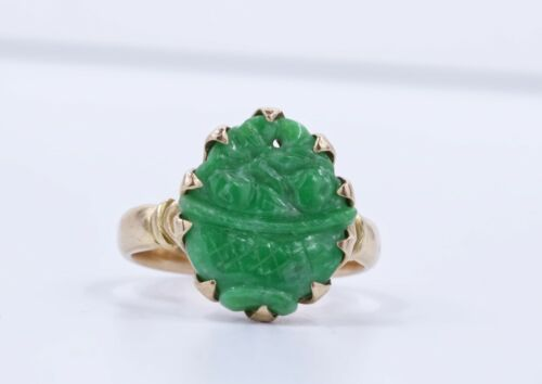 Hand Carved Vintage Jade 14 Kt Yellow Gold Ring