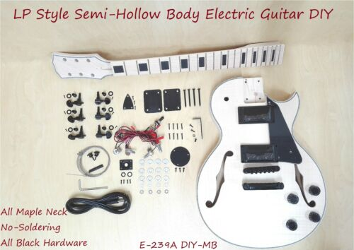 Electric Guitar DIY Kit,Semi-Hollow Body,No-Soldering,Black Hardware 239A DIY-MB