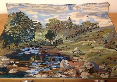 HAND SEWN COMPLETED TAPESTRY COUNTRYSIDE SCENE SHEEP 65CM X 50CM VGC