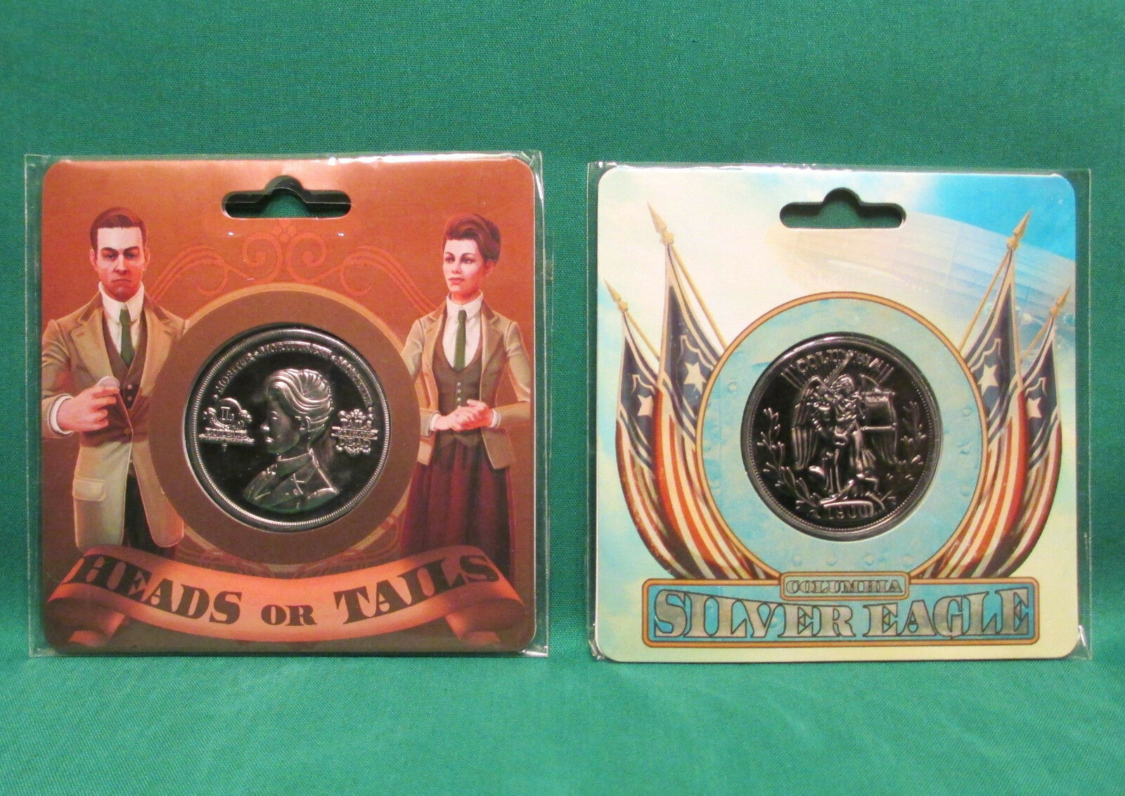 "Official BioShock Infinite Lutece & Silver Eagle Collectible 1.5"" Coins SEALED"
