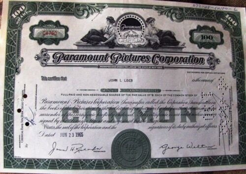Stock certificate Paramount Pictures Corporation dated 1960