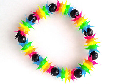 UV GLOW  Silicone Bracelet surfer rave dance hippie Rainbow blue  UV GLO 005 - Glo Bracelets