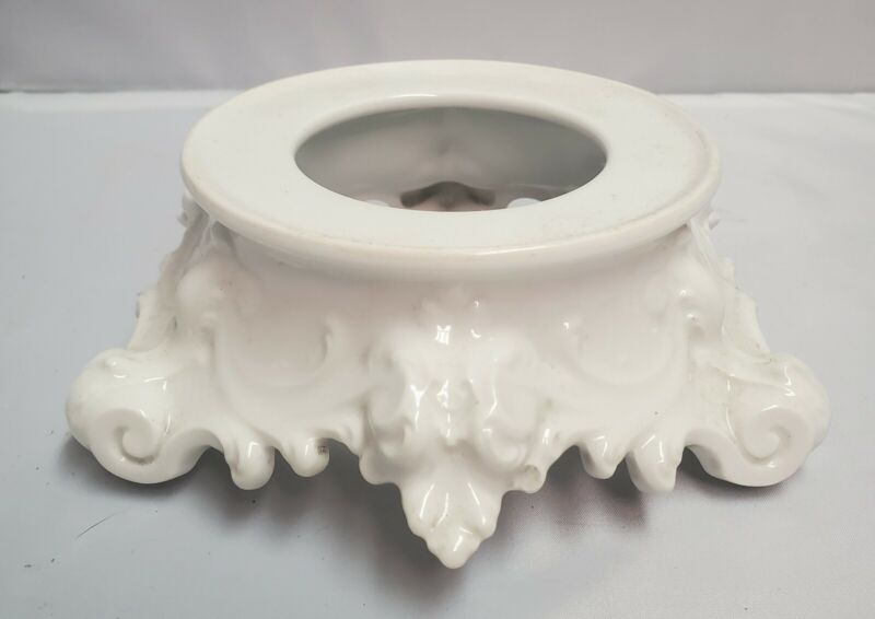Antique French Porcelain Limoges Ornate White Pedestal Base Stand TV