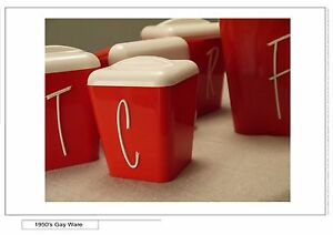 RETRO 50's MID-CENTURY 'Gay Ware' Kitchen Canisters, Red & White Preston Darebin Area Preview