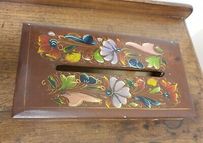 vintage hand painted floral TISSUE BOX