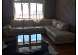 GENUINE CREAM ITALIAN LEATHER COUCH Manly Brisbane South East Preview