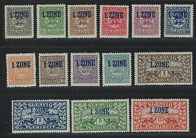 "1920 Schleswig Scott #15-28 - Northern Schleswig ""1.ZONE"" Overprint Set - MNH"