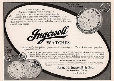 1908 c Ingersoll Pocket Watch Yankee Midget Print Ad