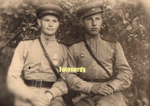 WWII Era Soviet Russian RPPC Photo RKKA Red Army NCOs w/ Awards In Latvia a12