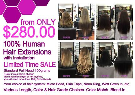 Micro bead hair extensions in adelaide region sa hairdressing human hair extensions unreal deal full head install from 280 pmusecretfo Choice Image