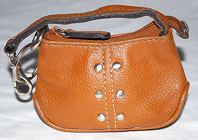 (Studded Brown Faux Leather Zipper Coin Purse & Key Ring Cloth Flowered Lining)