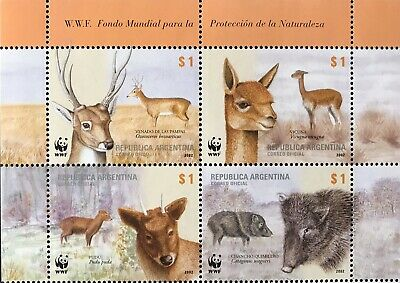 ARGENTINA WWF ANIMAL STAMPS BLOCK OF 4v 2002 MNH WILD ANIMALS DEER BOAR #2192 for sale  Shipping to India