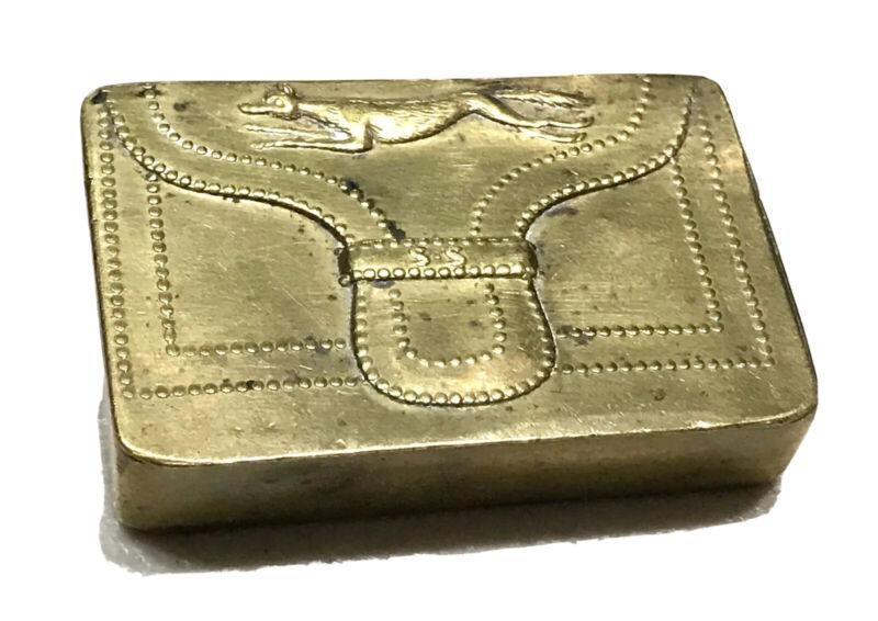 Rare Antique Vintage 1800' Hunting Fox Bag Vesta Match Safe Case Holder Old
