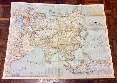 Large Vintage Map Of Asia - National Geographic 1951
