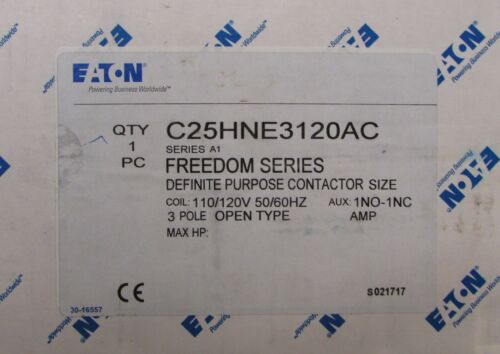 EATON CUTLER HAMMER C25HNE3120AC 110/120V 3 Pole Definite Purpose Contactor