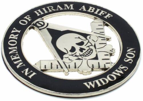 """Masonic 3"""" In Memory of Hiram Abiff Car Emblem Widows Son Black // Silver  DMCE8"""