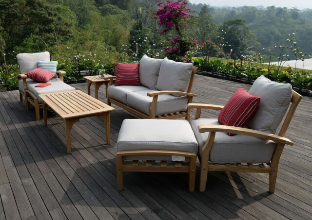 Wonderful Wood Patio Furniture With Cushions 7 Piece Teak Outdoor Seating Set Garden Beige I Inside Design Inspiration