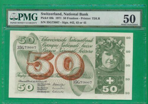 Switzerland  Pick# 48k , 50 Franken , 1971 ,  AU