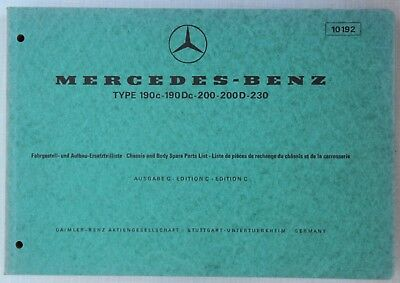 Mercedes-Benz Spare Parts Catalogue 1960s Models 190c, 190Dc, 200, 200D, 230