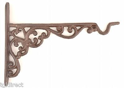 "Cast Iron Plant Hanger Ornate Pattern 10"" Long Yard Garden Outdoor Decor Hook"