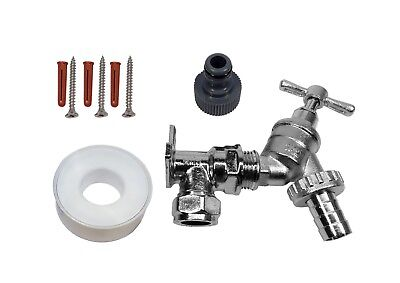 Chrome Outside Tap Kit With Wall Plate Elbow & Garden Hose Fitting ()