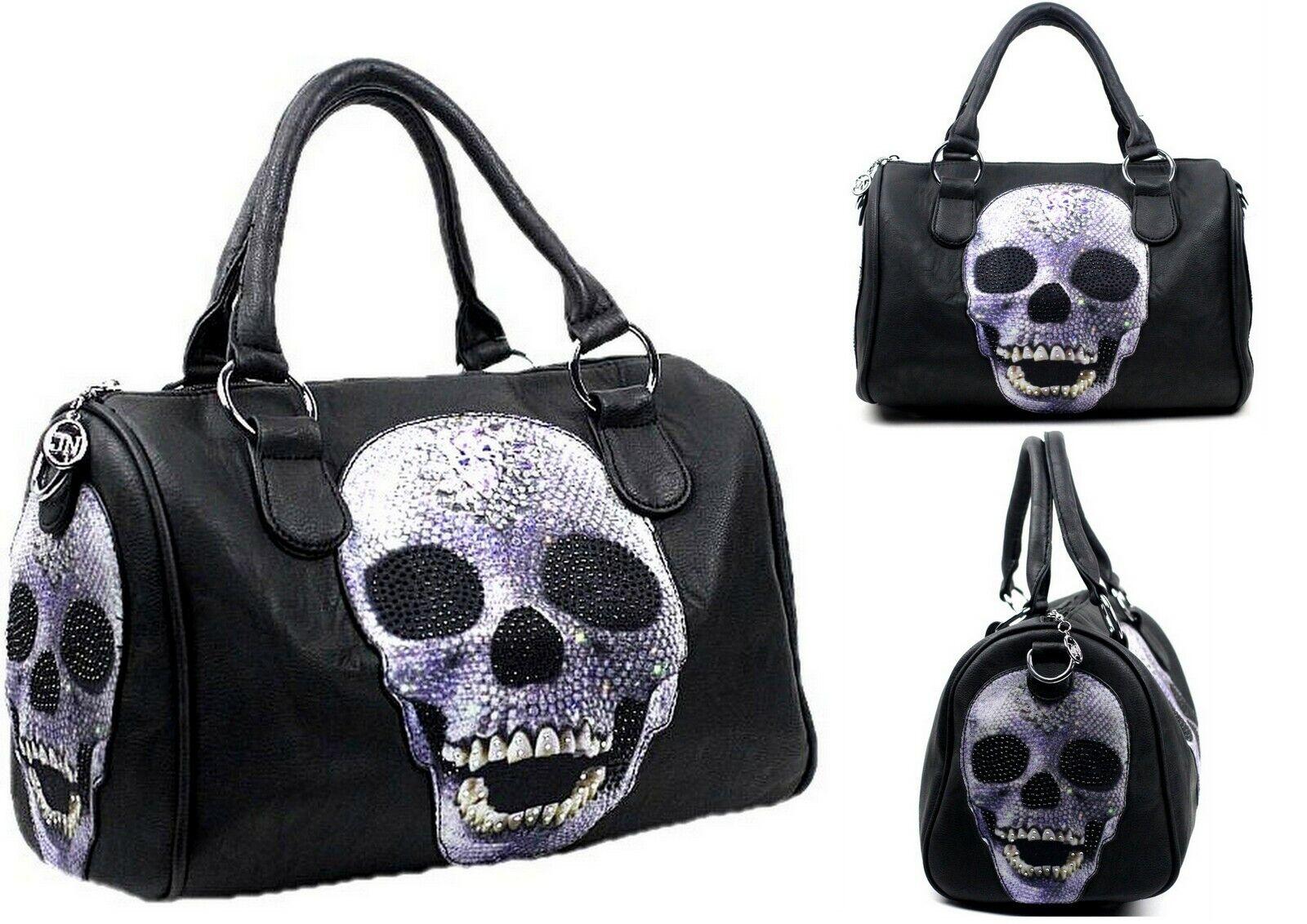Damen Handtasche Totenkopf Bowling Bag Strass Optik Punk Damentasche Tasche