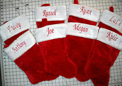 """PERSONALIZED Monogrammed CHRISTMAS STOCKING Red  and White Plush 18"""""""