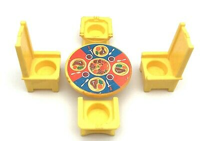 Fisher Price Little People Vintage 993 Castle YELLOW THRONES & TABLE Steak Set