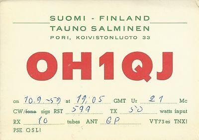 OLD VINTAGE OH1QJ KOIVISTONLUOTO PORI FINLAND AMATEUR RADIO QSL CARD
