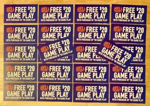 22 Dave and Busters D&B $20 gameplay with same purchase powercard EXP 1/31/2023