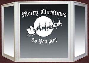 Christmas-Wall-Window-Sticker-Santa-Sleigh-Reindeer-Shop-Vinyl-Decal-1