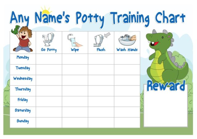 A4 Personalised Potty Training Chart - Dinosaur Design - Pen and 2 X ...