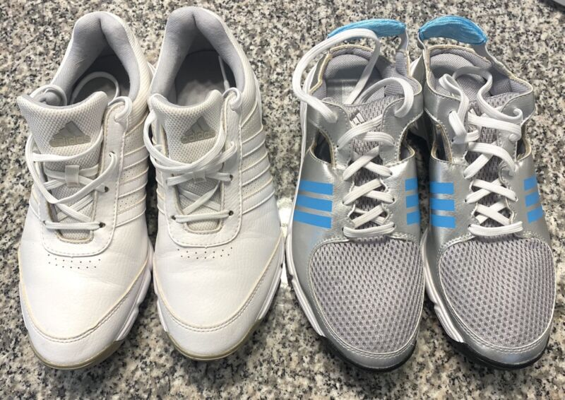 2 PAIR LOT! WOMENS ADIDAS GOLF CLEATS SHOES SZ 7.5  LACE UP AND SUMMER SLIP ON!