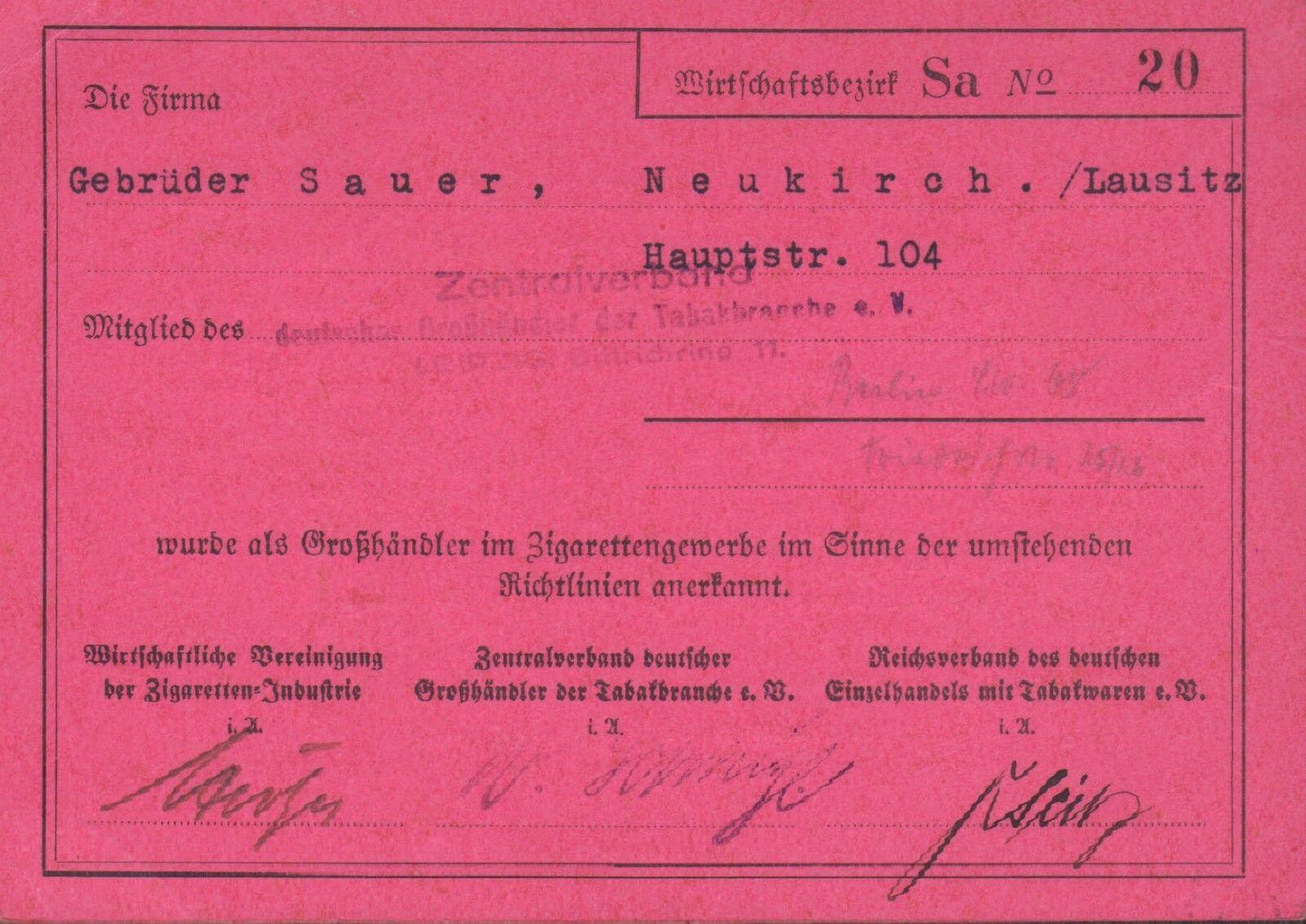 NEUKIRCH/LAUSITZ, Ausweis-Karte, Gebrüder Sauer Tabakhändler Zigarettengewerbe