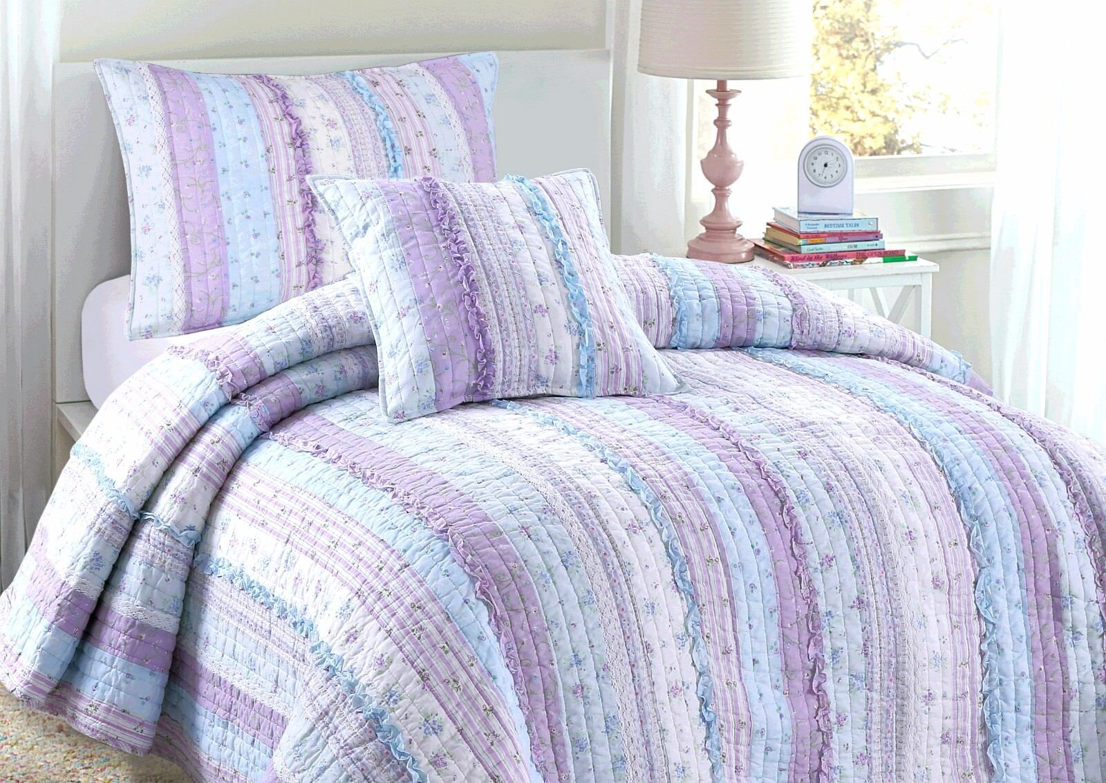 Lilac Romantic Embroidered Chic Lace 100% Cotton Quilt Set,