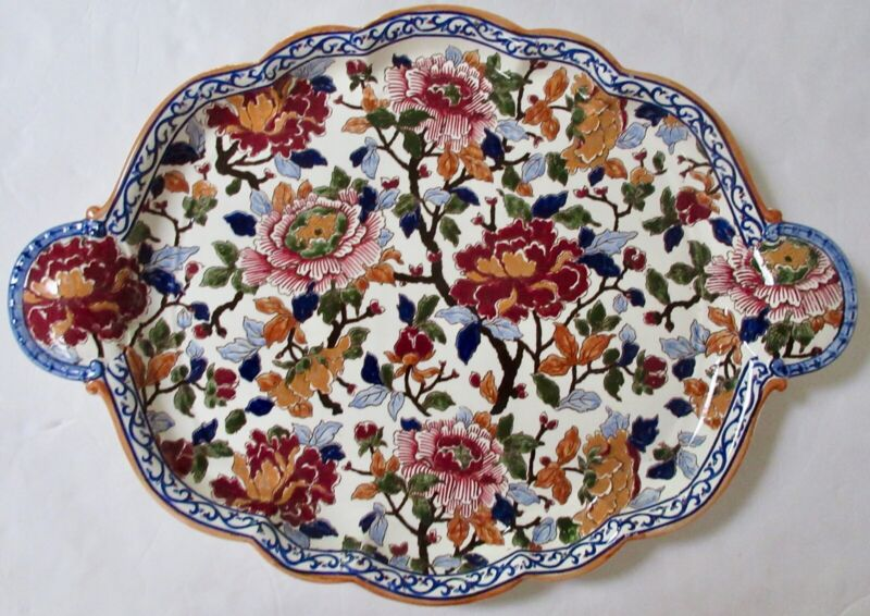 """Gien French Pivoines Peonies Platter Plate 21"""" x 15"""" Near Mint Vintage Condition"""