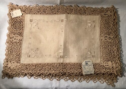 One Dozen Hand Made Lace & Linen Table Placemats New Old Stock With Tags